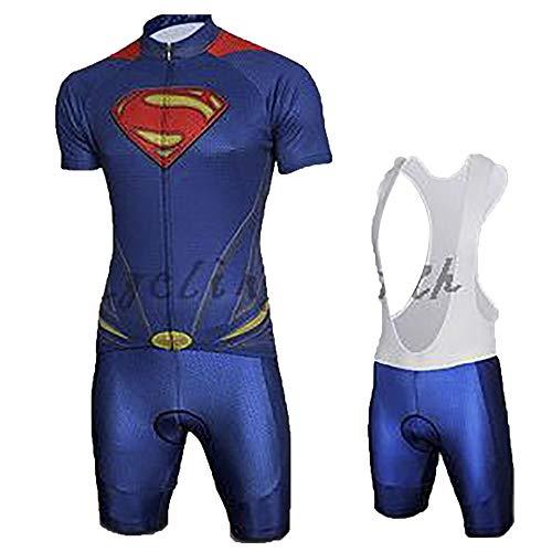 Pantalones Cortos De Ciclismo Para Hombres Pantalones Cortos De Ciclismo Para Hombres Pantalones Cortos De Gel Acolchados 9D, Camiseta De Ciclismo Capitán América Superman Iron Man Ropa,C-M