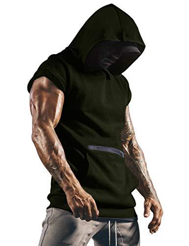 iWoo Men Sleeveless Workout Hoodies Muscle T-Shirt Boxing Sleeveless Hoodie Green L