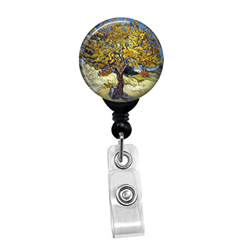Vincent Van Gogh - The Mulberry Tree -Retractable Badge Reel - ID Name Tag Custom Badge Holder (Black Badge Reel with Spring Pinch Clip)