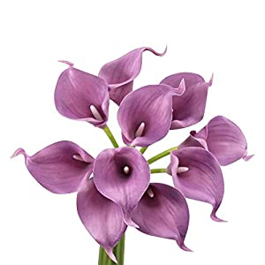 Angel Isabella, LLC Lifelike Artificial Flowers Real Touch Calla Lily Bouquet Bundle 10 Stems (Wisteria Purple)