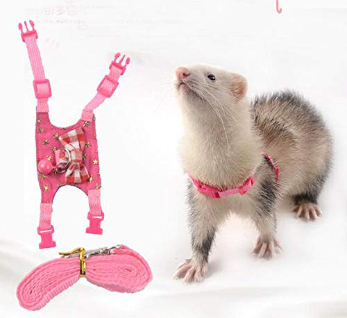 LXT&YY Small Animal Outdoor Walking Vest Harness and Leash Set with Cute Bowknot and Clear Bell Decor Chest Strap Harness for Bunny Ferret Guinea Pig Hamster Kitten Clothes Accessory (S)