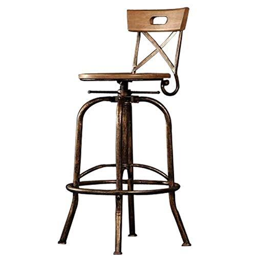 CCSU - Taburete de bar de madera industrial de hierro forjado, silla alta que se puede levantar y bajar transpirable