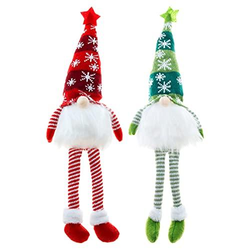 Decoraciones de gnomo navideño, 2 piezas de luces decorativas de gnomo sueco...