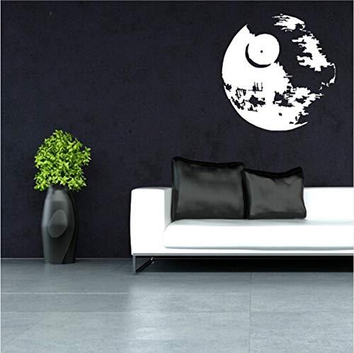 Etiqueta de la pared del vinilo de la estrella de la muerte de Olivialulu Star Wars Decal Scifi, Estrella de la Muerte en blanco y negro de 57 * 57 cm