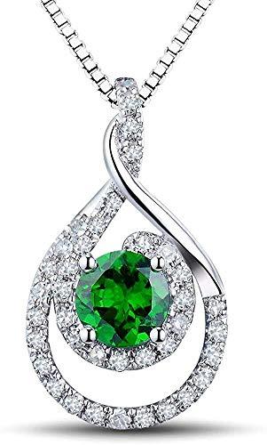 ketting 14Kt Wit Goud Natuurlijke Diamant Tsavorite Engagement Hanger voor Vrouwen Bruiloft
