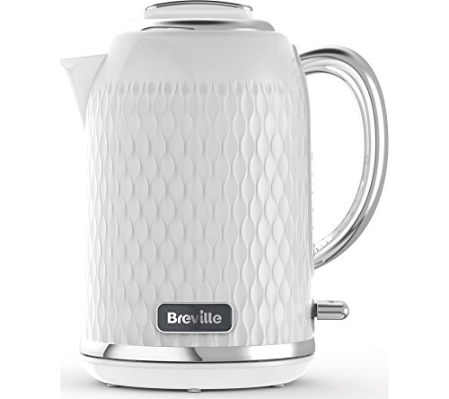 Breville Curve Electric Kettle , 1.7 Litre , 3KW Fast Boil , White and Chrome [VKT117]