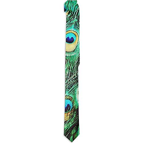 Corbata formal Seda agradable para la piel Hermosas plumas de pavo real Corbata verde Moda Novedad Disfraz Accesorio Corbatas para hombres Niños adolescentes