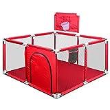 box per bambini, centro di attività per bambini, recinto bambini da interno con canestro da basket, box bambini quadrato (rosso)