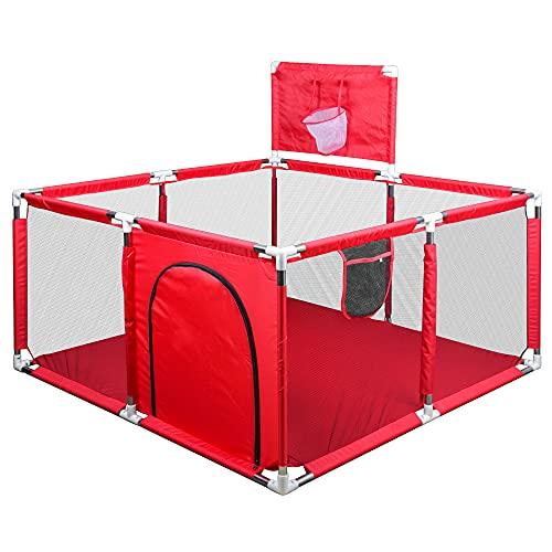 Valla de Juegos para Bebes, Parque Infantil para Bebés, Oxford Cloth Valla de Seguridad para Niños con Marco de la Bola, 128*128*62CM (Rojo)