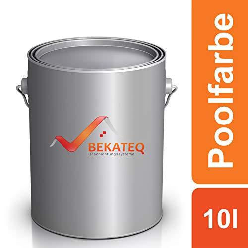 Bekateq Poolfarbe LS-400, weiss 10l seidenglänzend, Schwimmbadfarbe Chlorkautschukfarbe für mineralische Untergründe wie Beton, Mauerwerk, Putz