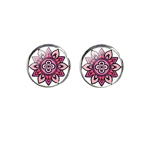 Nueva Colorfu Mandala con formas florales pendientes de arte indio pendientes de cristal Cabujón de acero inoxidable Pendientes de las mujeres
