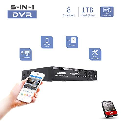 8 Channel CCTV DVR Recorder, DEATTI HD 1080P Lite 5in1...