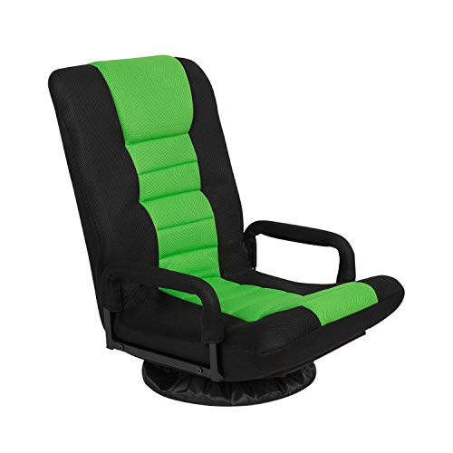Swivel Gaming Floor Chair with Arms Back Support Adjustable Floor Sofa for Adults Teens Lazy Sofa Lounger Video Game Chair,Green