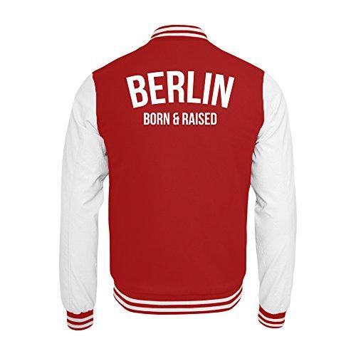 PlimPlom Berlin College Jacke In Rot/Weiß Hauptstadt Born & Raised (L)