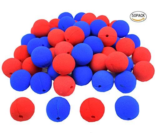 dancepandas Espuma Clown Nose, 50 Piezas Azul Red Nariz de Payaso Divertido Halloween Costume Party