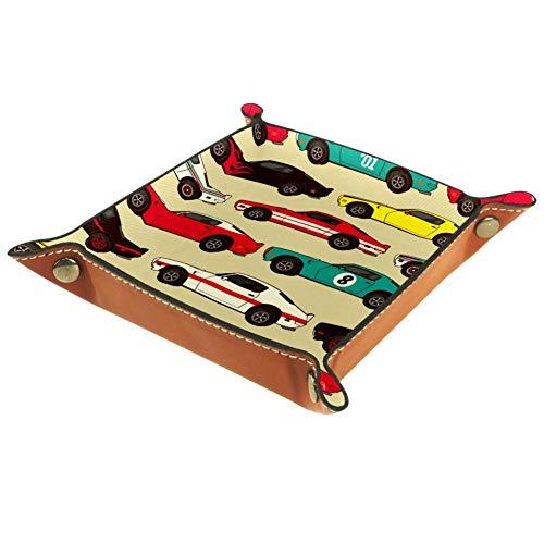 TIZORAX Cars Leder-Tablett Schmucktablett Nachttisch Organizer für Münzschlüssel, Leder, Mehrfarbig, 16 x 16 cm
