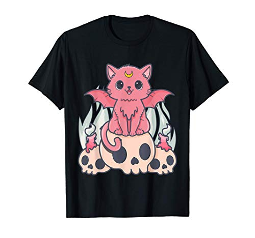 Kawaii Gato Pastel Goth Cute Creepy Demon Cat and Skull Camiseta