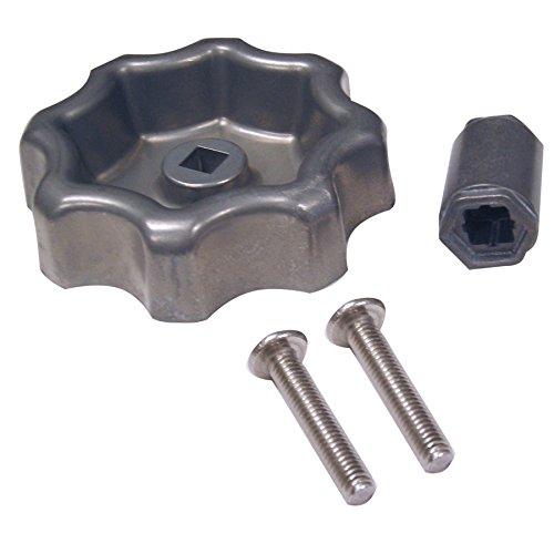 Danco 10006P Outdoor Faucet Water Spigot Hose Bibb Round Wheel Handle Replacement 2 Pack, 2-Pack, Metallic