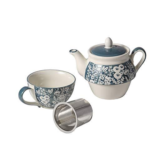 Taimei Teatime Grey Tea for One Set, Hand Painted Tea Sets, Ceramic Tea Pot(15 fl oz) and Cup Set with Infuser for Loose Leaf Tea