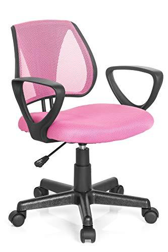 hjh OFFICE 725104 Kinder- und Jugenddrehstuhl KIDDY CD Netzstoff Rosa höhenverstellbare Rückenlehne, Stuhl mit Armlehnen