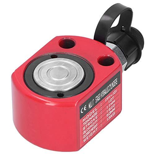 Cilindro Hidráulico 10T Gato de Ariete Hidráulico Rojo Herramienta Eléctrica de émbolo de Agujero Hueco Separado 50 mm de Altura