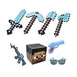 QLTY Espada de Diamante de Espuma,Pico,Arma,Pala,Hacha,Mosaico de píxeles,Juego de Juguete de Espuma,Accesorio de Disfraz,Juguete de Espuma para niños,Accesorios de Armas de Cosplay