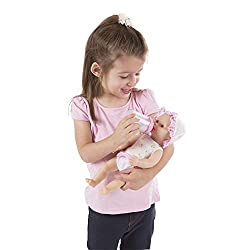 POSEABLE DRINKand WET BABY DOLL: The Melissa and Doug Mine to Love Annie Drink and Wet Doll is a cuddly poseable baby doll that includes a dummyand pink-trimmed, self-sticking nappy. INTRODUCES POTTY TRAINING: This baby doll potty-training set includ...
