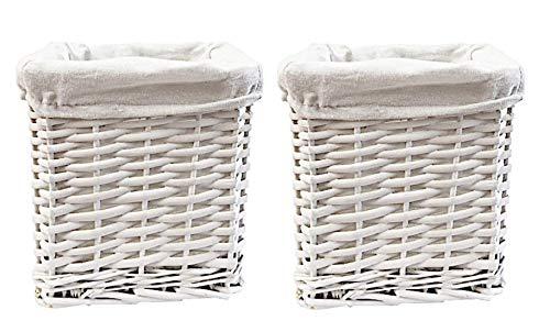 topfurnishing Set of 2 Multi Purpose White Small Willow Wicker Storage Hamper Basket Baby Nursery Organiser 20x20x20cm