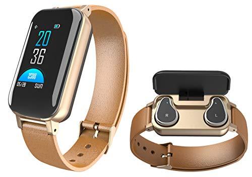 Kopfhörer Fitness Armband Bluetooth Pulsuhr Schrittzäler Smartwatch Farbbildschirm Musiksteuerung Anruf SMS Nachrichten