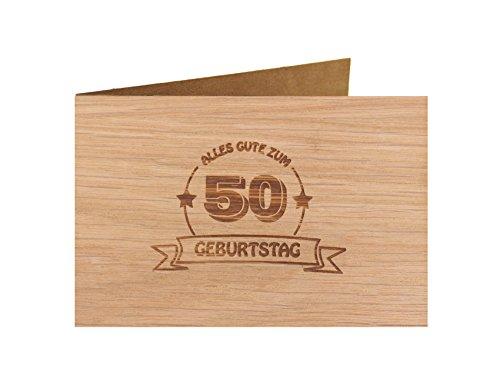 Holzgrußkarte - Geburtstagskarte - 100% handmade in Österreich - Postkarte Glückwunschkarte Geschenkkarte Grußkarte Klappkarte Karte Einladung, Motiv:ALLES GUTE 50 GEBURTSTAG