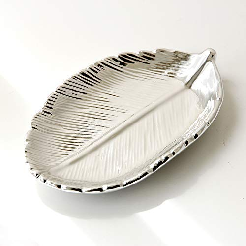 FairDeco Silver Electroplating Ceramic Leaf Trays, Small Jewelry Storage Box Decorative Centerpiece Accents