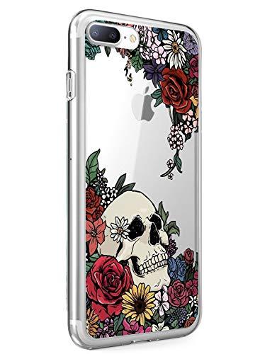 Suhctup Transparente Funda Compatible con iPhone 7+/8+ Plus,Carcasa Protectora de TPU Ultradelgada Flor y Calavera Diseño Anti-Choques Resistente Case Cover para iPhone 7+/8+ Plus 5.5''(4)
