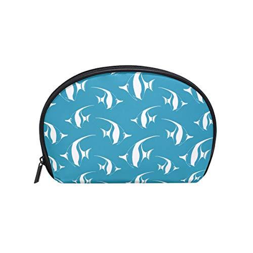 Banderín con diseño de peces, bolsa de cosméticos, bolsa de maquillaje con forma de concha de mar, bolsa de viaje, práctica organizador para mujer