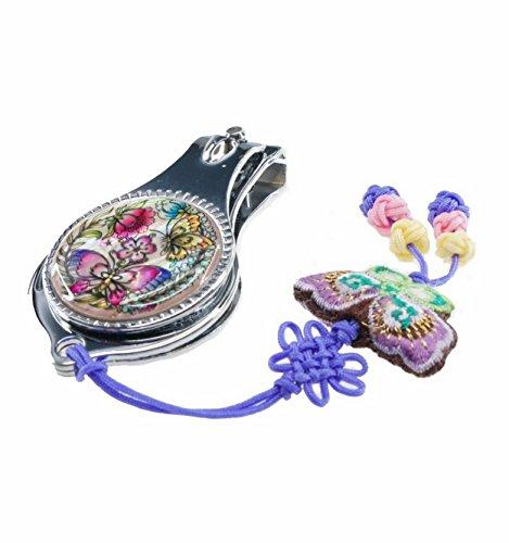 Coupe-ongles fantaisie design papillons et fleurs de nacre naturelle, accessoire Manucure pieds et mains. Artisanat Coréen traditionnel