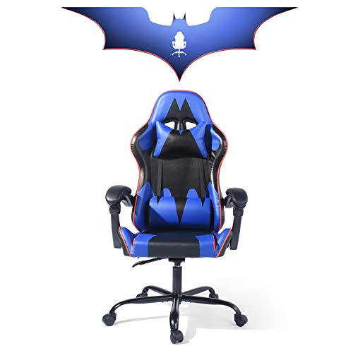 Homylin Gaming Chair Racing High Back Office Computer Desk Leather Chair Adjustable Lumbar Support Executive Blue blue chair gaming