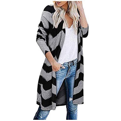 iHENGH Damen Herbst Winter Bequem Mantel Lässig Mode Jacke Frauen Langarm Leopardenmuster Tasche Mode Mantel Bluse T-Shirt Strickjacke Top(Schwarz, XL)