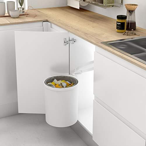 Casaenorden - Cubo de basura redondo y giratorio para armario de cocina - Capacidad 13L