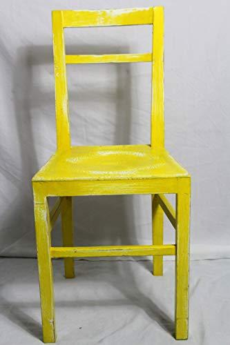 Shabby Stuhl alter Holzstuhl/Stuhl/Küchenstuhl/Esszimmerstuhl sonnen gelb 60er Jahre Landhaus Vintage Shabby Chic Möbel