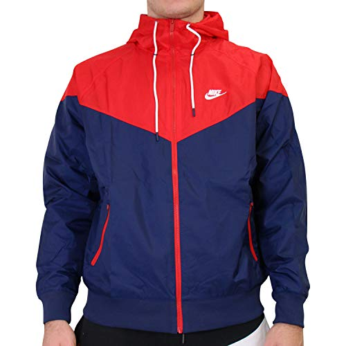 Nike Herren M NSW HE WR JKT HD Sport Jacket, Midnight Navy/University red/Midnight Navy/(White), M