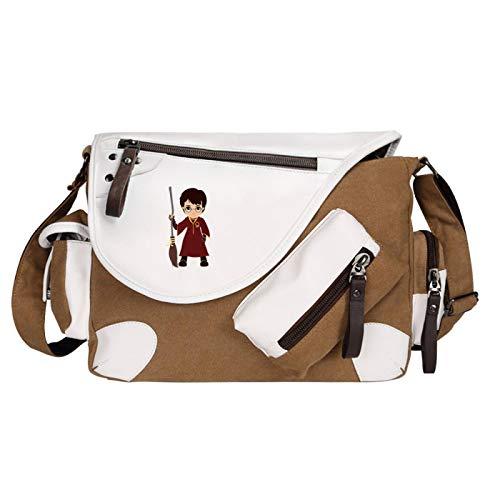 QLma Harry Potter Messenger Bag Quidditch Book Bag Patrón de dibujos animados Mochila escolar Adecuado para niños de 7~16 años 35x26x11cm Brown-D