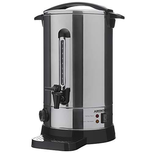 AREBOS Glühweinkocher | Heißgetränkespender | 20 L | mit Auffangschale, Auslasshahn, Thermostat und Überhitzungsschutz | Temperatureinstellung von 30-110°C