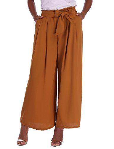 Abollria Pantalones de Palazzo para Mujer Elegantes Pantalones de Pierna Ancha con Cintura Alta Casual Pantalón Anchos con Cinturón Pants Ligero y Sueltos para Primavera Verano
