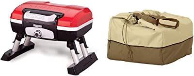 Cuisinart CGG-180T Petit Gourmet Portable Tabletop Propane Gas Grill, Red & Classic Accessories Veranda Water-Resistant 20 Inch Rectangular Table Top Grill Cover