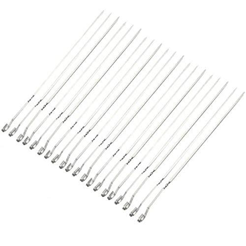 Fengshunte Pinchos de metal reutilizables de acero inoxidable de 30 cm, 20 piezas, para barbacoa, pinchos, planos y anchos, de metal reutilizables, con gancho