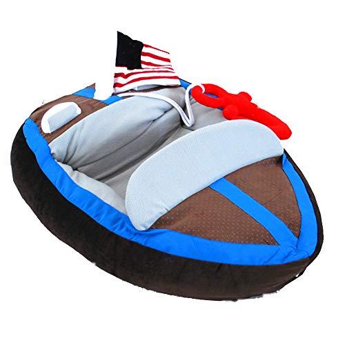 XMCWZJ Haustier Bett cool gut aussehend Yacht Bett Haus Warm Yacht Teddy Boot geformt personalisierte Katzenstreu Hundebett Wasserdichtes Hundebett,85x55x18cm