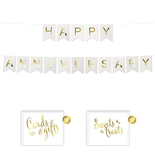 Andaz Press Shiny Gold Foil Paper Pennant Hanging Banner with Gold Party Signs, Happy Anniversary White, Pre-Strung, No Assembly Required, 1-Set