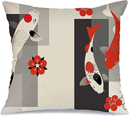Decoración Throw Pillow Cover Funda de cojín Pez rojo Artístico Koi Carpas Estanque en tres colores Chino Zen Japón Mural Fortune Piscis Hermoso Funda de Cojine 45 X 45CM