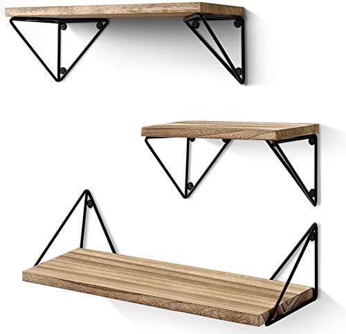 BAYKA Floating Mounted Set of 3 Rustic Wood Wall Shelves for Living Room, Bedroom, Bathroom, 3 Count