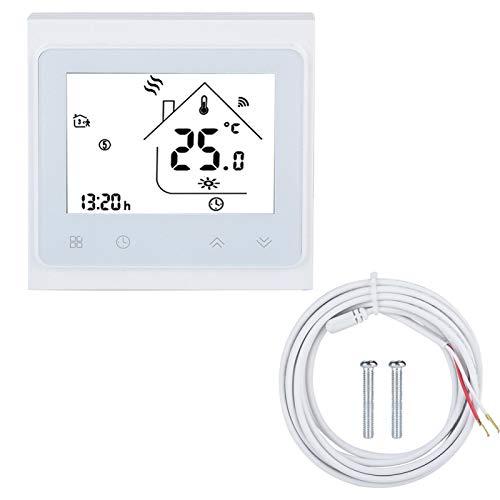 Cosiki Termostato de Pantalla LCD, termostato ignífugo Blanco, eficiente aeronáutica de Aluminio para baño Plateado, Sala de Flores, Invernadero, Sala de Estar para Dormitorio