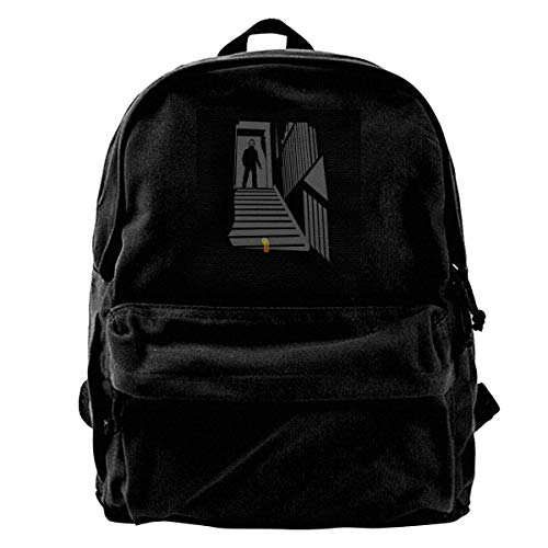 maichengxuan Canvas Backpack Halloween Mike Myres Slinky Stairs Rucksack Gym Hiking Laptop Shoulder Bag Daypack for Men Women